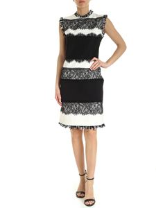 Twin-Set - Lace trim pencil dress in black and white