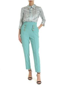 Elisabetta Franchi - Satin and crepe jumpsuit in white and light blue