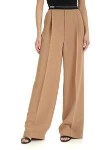 MSGM - Branded elastic palazzo pants in nude color