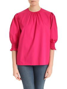 MSGM - Blouse in fuchsia cotton with curled sleeves