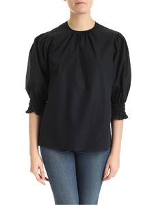 MSGM - Blouse in black cotton with curled sleeves