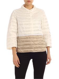 ADD - Down jacket in white and beige with waist ribbon