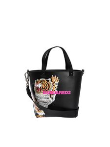 Dsquared2 - Tiger print bucket bag in black