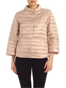 ADD - Pink down jacket with waist ribbon
