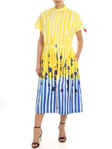Stella Jean - Printed dress in yellow and bluette