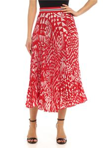 Stella Jean - Printed pleated skirt in red and white