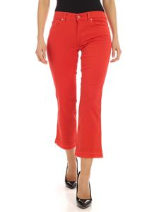 7 For All Mankind - Cropped Boot Unrolled trousers in red