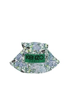 Kenzo - Disco Jungle hat in white blue and green
