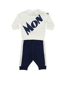 Moncler Jr - Moncler print tracksuit in white and blue