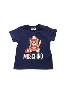 Moschino Kids - Baseball Teddy Bear T-shirt in blue