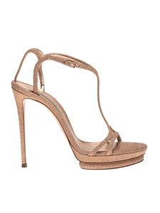 Casadei - City Light Giulia Salomé sandals in rose gold