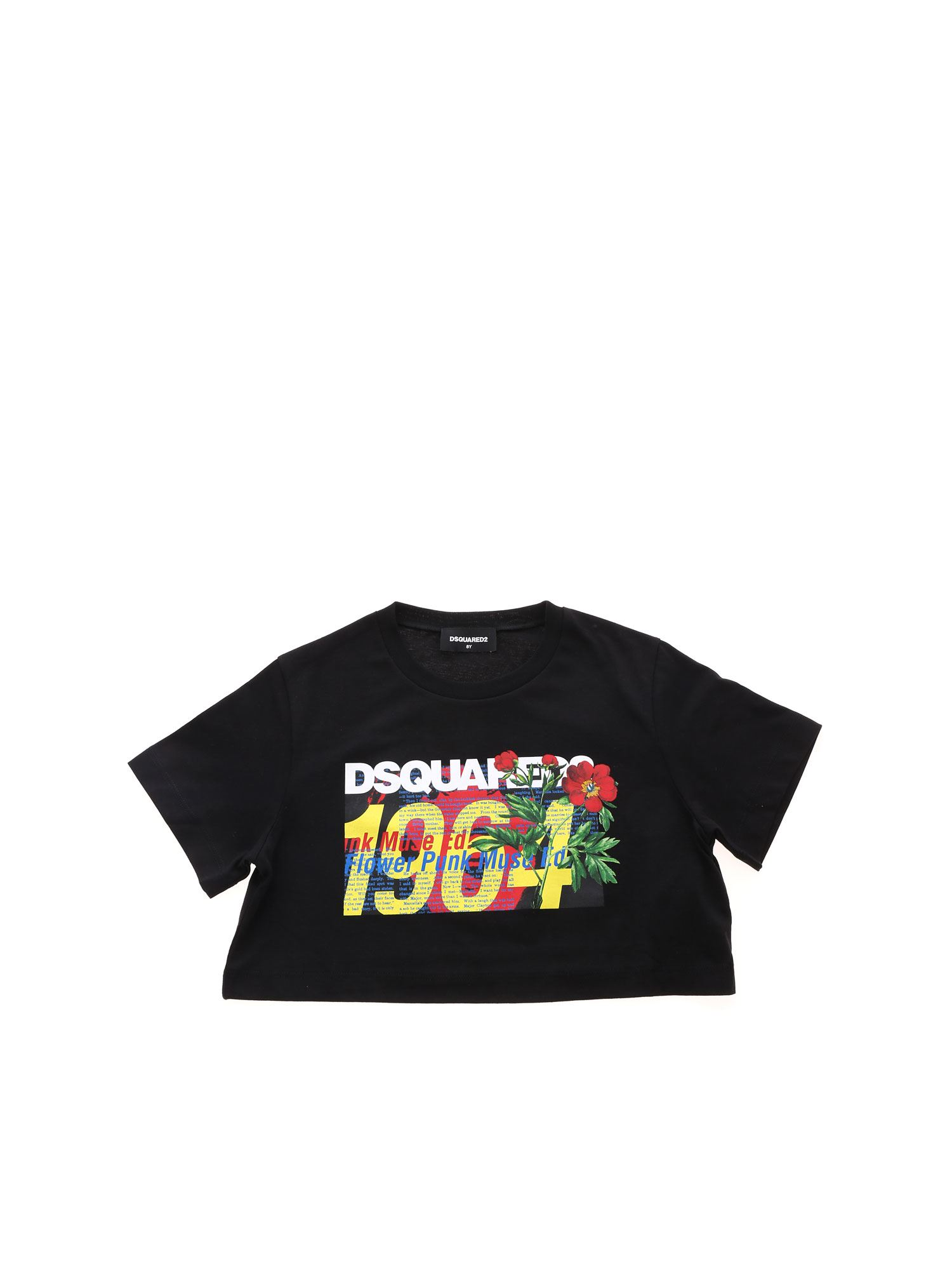 Dsquared2 DSQUARED 1964 CROP T-SHIRT IN BLACK
