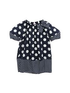 Il Gufo - Polka dot dress in blue and white