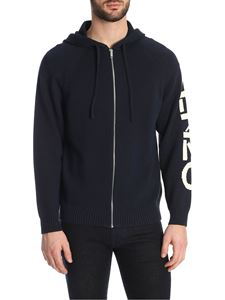 Kenzo - Blue cotton blend knitted hoodie