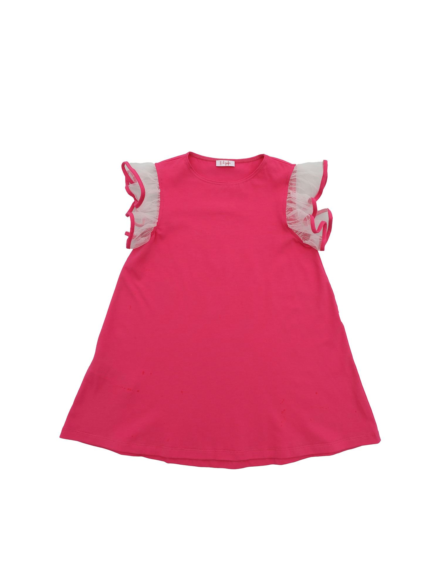 Il Gufo TULLE ON THE SLEEVES DRESS IN FUCHSIA