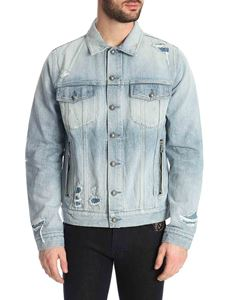 Balmain - Destroy denim jacket in light blue