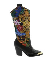 Versace Jeans Couture - Tropical Baroque print boots in black