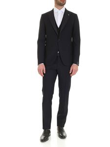 Tagliatore - Micro pattern virgin wool suit in blue
