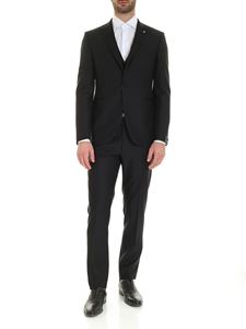 Tagliatore - Logo brooch virgin wool suit in black