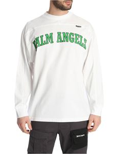 Palm Angels - New College Logo Over t-shirt in white and green