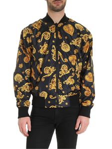 Versace Jeans Couture - Baroque jewelry print bomber jacket in black