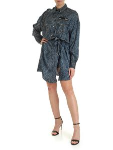 Versace Jeans Couture - Denim effect print viscose dress in blue