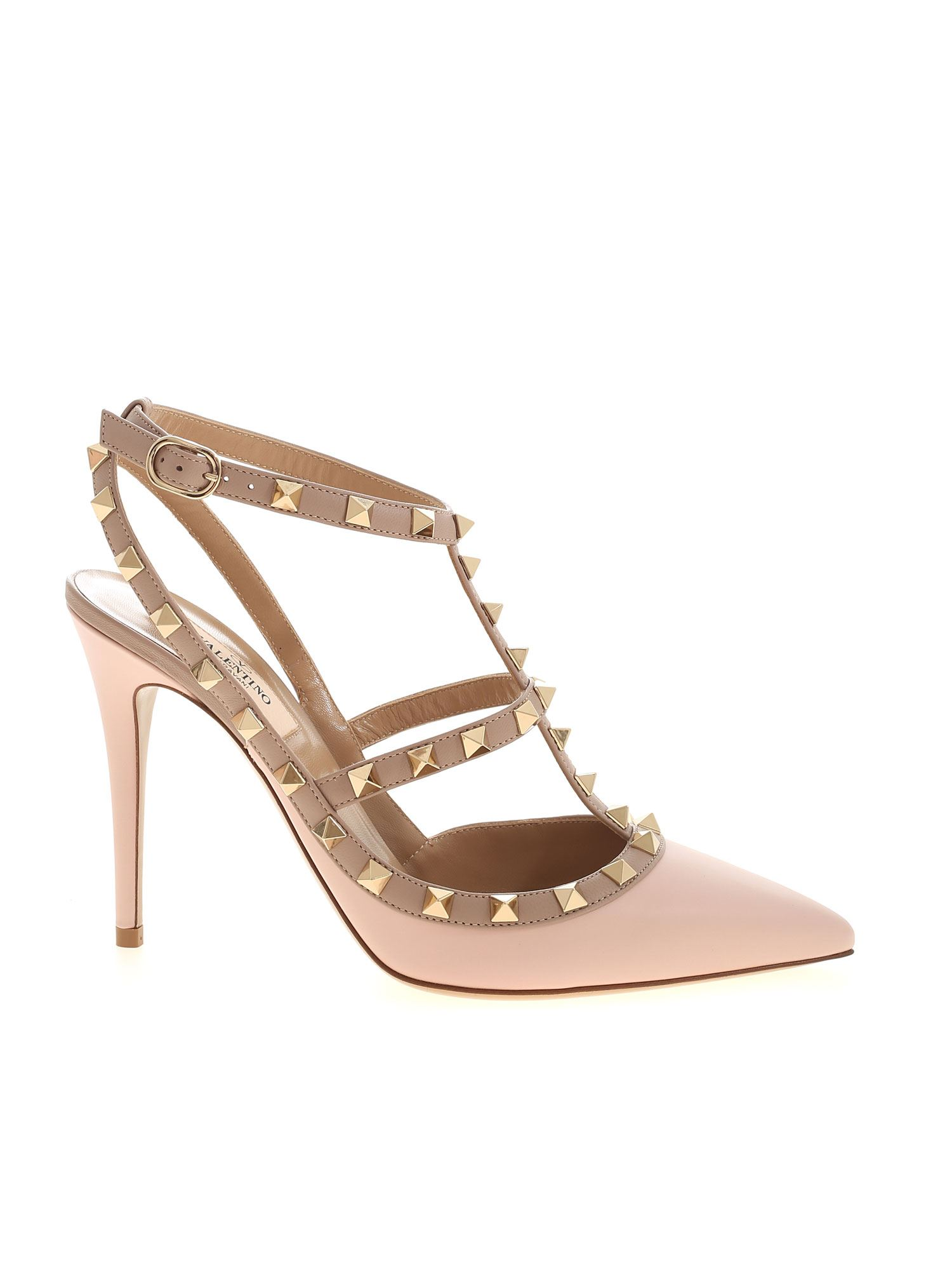 Valentino Garavani Ankle Straps In Pink With Straps And Studs