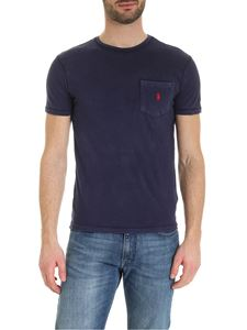 POLO Ralph Lauren - T-shirt in blue with pocket and red logo