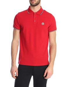 Moncler - Logo patch polo shirt in red