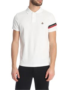 Moncler - Polo shirt in white with tricolor logo band
