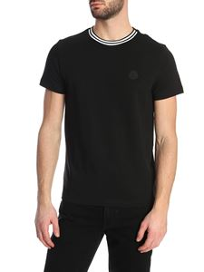 Moncler - Black T-shirt with contrasting piping collar