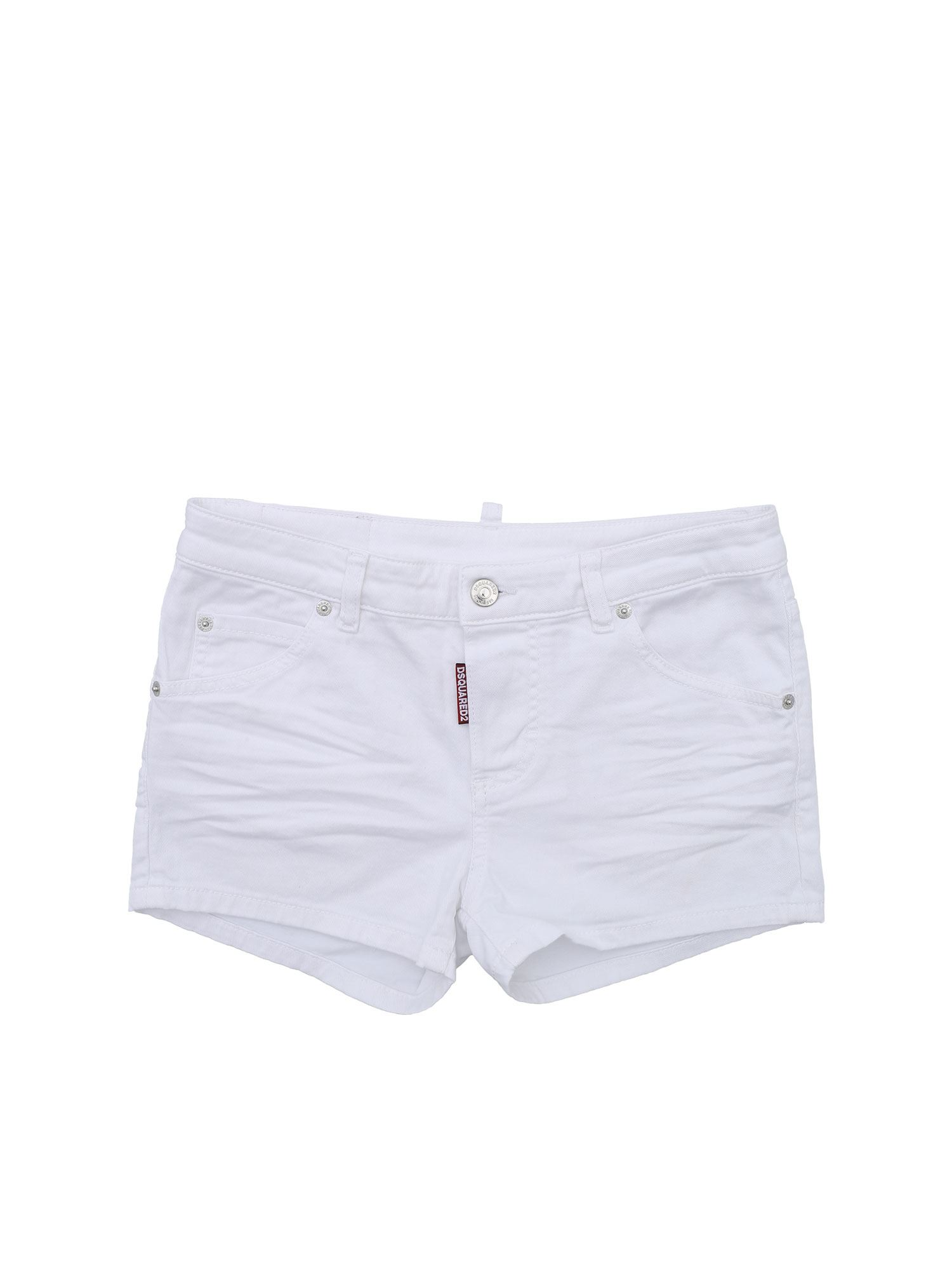 Dsquared2 WHITE SHORTS WITH CONTRASTING LOGO
