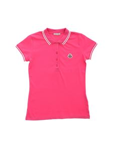 Moncler Jr - 3 buttons polo shirt in fuchsia with white edges