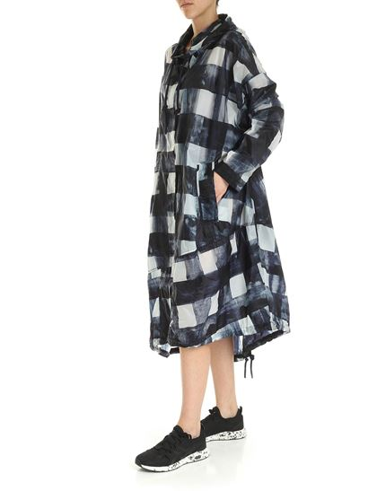 Rundholz Black Label - Asymmetrical overcoat in blue with check print