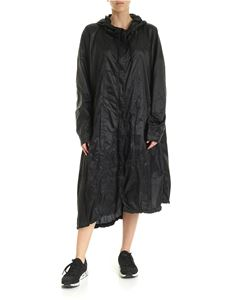 Rundholz Black Label - Asymmetric overcoat in black with hood