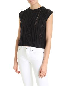 Ermanno by Ermanno Scervino - Knitted top in black with tone-on-tone rhinestones
