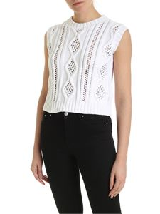 Ermanno by Ermanno Scervino - Knitted top in white with rhinestones