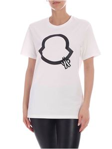Moncler - T-shirt bianca con logo in perline