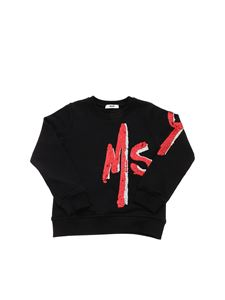 MSGM - Red sequin logo sweatshirt in black