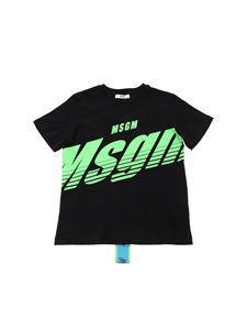 MSGM - Neon mint logo T-shirt in black