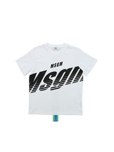 MSGM - Black logo T-shirt in white