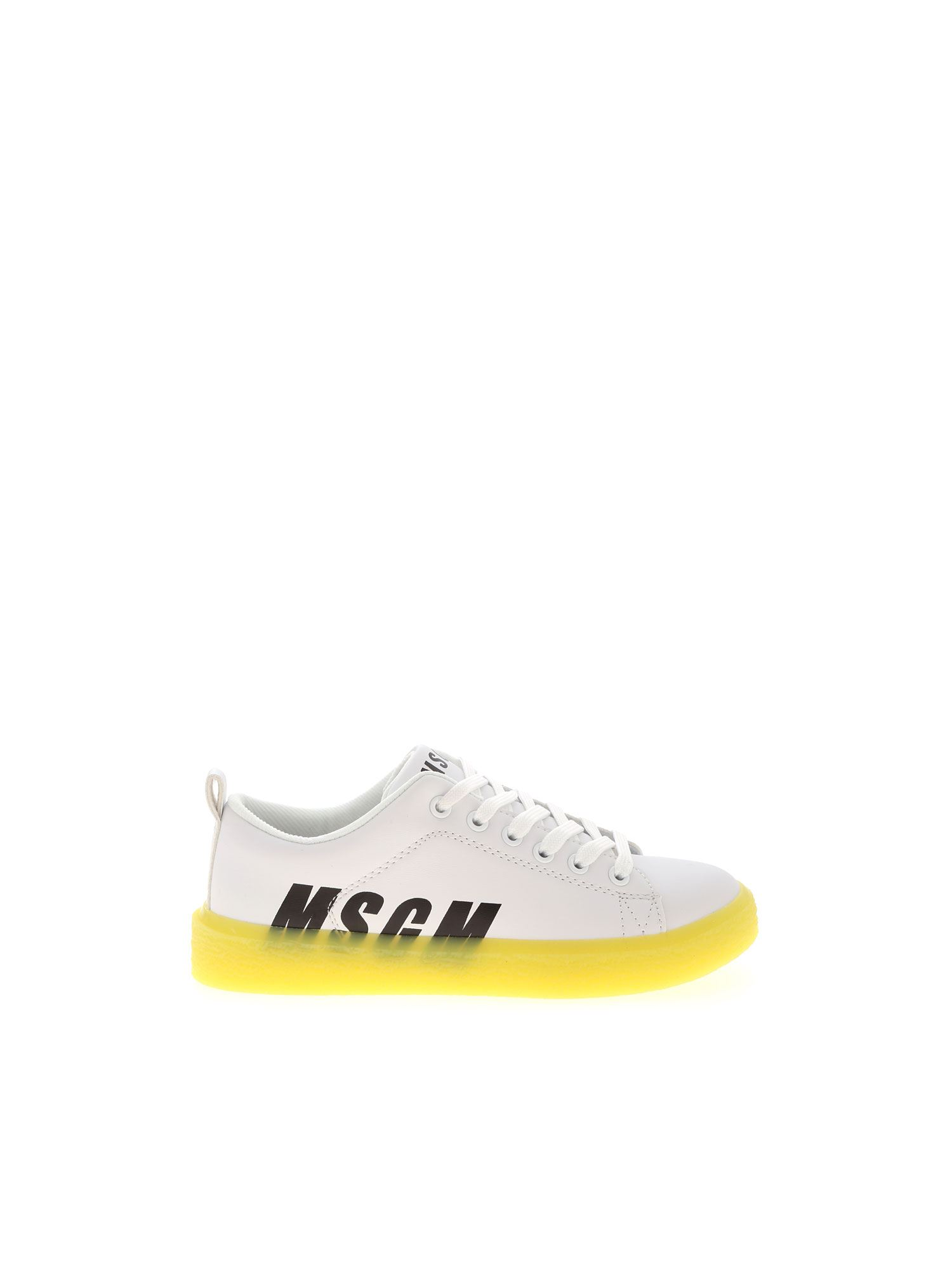 MSGM NEON YELLOW SOLE SNEAKERS IN WHITE