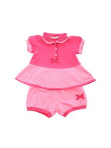 Moncler Jr - Piquet romper suit in pink
