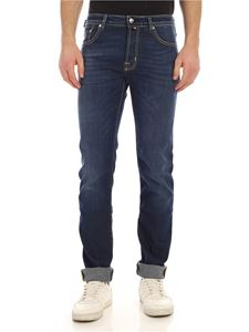 Jacob Cohën - Yellow logo label jeans in blue