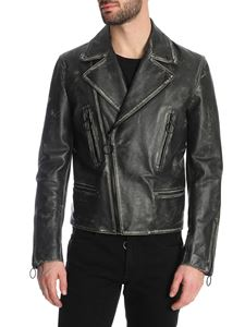 Off-White - Vintage leather biker in black