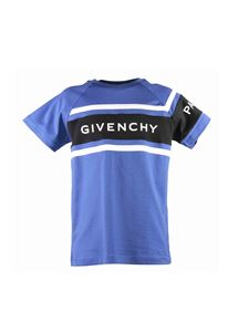 Givenchy - Branded T-shirt in blue cotton jersey