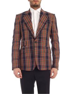 Vivienne Westwood  - Single breasted checked jacket in blue and orange