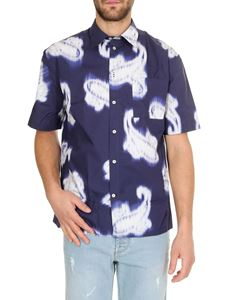 MSGM - Paisley tie dye shirt in blue and white