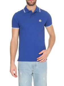 Moncler - Logo patch polo shirt in blue