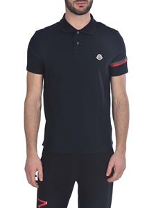 Moncler - Polo shirt in navy blue with tricolor logo band